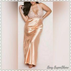 🆕PLUS Lace & Soft Satin Long Lingerie Gown Peach